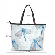 UHONEY Extra Large Handbags for Women,Hand Painting Blue Dragonfly Decoration Light Blue,Fashion Design Ladies Shoulder Tote Bag
