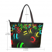 UHONEY Extra Large Handbags for Women,3D Colourful Marbles Robot Cool ,Fashion Design Ladies Shoulder Tote Bag