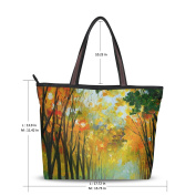 UHONEY Extra Large Handbags for Women,Orange Yellow Leaves Oil Painting Scenery Malp Dec,Fashion Design Ladies Shoulder Tote Bag