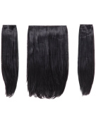 NEW LADIES THREE PIECES 46cm STRAIGHT CLIP IN SYNTHETIC HAIR EXTENSION HEAT RESISTANT
