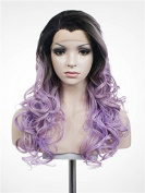 Imstyle. Long Wavy Light Pastel Violet Cosplay Synthetic Lace Front Wig