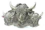 Belt Buckle - Buckle Style 4461 Bison Silver Interlocking Buckle Metal Bison