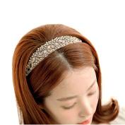 Fletion Elegant Ladies Girls Women's Fashion Boho Style Decorative Bead Jewel Headband Handmade Crystal Rhinestone Beaded Hairband Elastic Stretch Lace Head Wrap