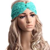 Fletion Fashion Elegant Lace Elastic Headband Stretchable Hairband Twisted Knotted Head Wrap Shower Yoga Sport Headwrap Cross Turban Headwear Hair Accessories for Women Ladies Girls
