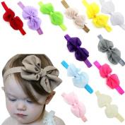 GAXUVI 12PCS Babys Girls Chiffon Flower Elastic Headband