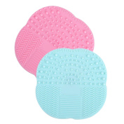 2 Pcs Silicone Makeup Cosmetic Brush Suction Cup Cleaner Cleaning Washing Pad Mat Tools