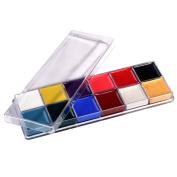 DE'LANCI Professional Face Body Paint Oil 12Colors Painting Art Party Fancy Makeup Set