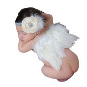 Koly Photography Prop Newborn Baby Girls Angel Feather Wings and Headband Christening Gift Set