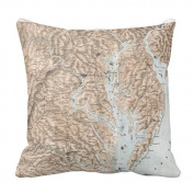 CottonHouse Vintage Map of The Chesapeake Bay (2061) Throw Pillowcases 50cm One side
