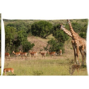 antelope giraffe african wildlife trees nature landscape Zippered Pillow Cases Cover 50cm x 80cm