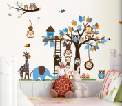 Childrens Room Wall Stickers Blue Wall Stickers Woodlands Animals Giraffe, Elephant, Owls, Fox & Monkey for Kids Bedroom Walls from DecoBay