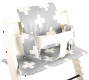 Highchair cushion Ukje Stokke Tripp Trapp - Grey white crosses - Coated