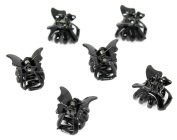 Set of 6 Mini 2cm Butterfly Hair Claws/Clips - Black