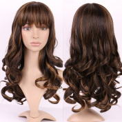 "S-noilite® 17""(43CM) Long Full Wigs Curly Wavy Wave Dark Brown Highlight Kanekalon Hair Wig for Women Ladies"