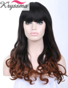 K'ryssma New Series Beauty Ombre Black Browm Wavy Wigs for Women Shoulder Length Synthetic Hair Wigs with Neat Bangs Heat Safe 36cm