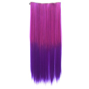 One Piece Synthetic Straight Two Tone Ombre Hairpiece Clip-on Wig Hair Extension Beauty Tool Rose to Dark Purple