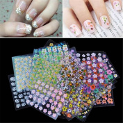 EJY 50 Sheets Assorted Colours 3D Design Nail Art Sticker Tip Decal Manicure