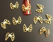 3D Nail Art Gem Bow Tie ( Pack of 10 ) (Gold) Collection 26