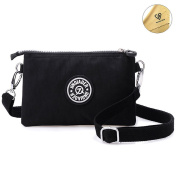 Tiny Chou Three Layers Zipper Purse Waterproof Nylon Wristlet Bag Cell Phone Pouch with Shoulder Strap