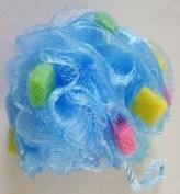 Bathery Polka Dot Nylon Bath Sponge with Strap, Aqua Blue