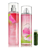 Bath & Body Works Sweet Pea Diamond Shimmer Mist 8 fl.oz/236 mL & Sweet Pea Fine Fragrance Mist 8 fl.oz/236 mL Gift Set with a Jarosa Bee Organic Peppermint Lip Balm