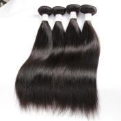 "Grace Plus Brazilian Straight Hair 4Bundles 100% Unprocessed Smooth and Soft 100ml/pcs with 1pcs Lace Closure Free Part 50g 4""×4"" Grade7"