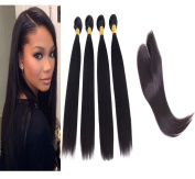 8~80cm Remy Brazilian Virgin Human Hair Extension With Closure Silky Straight, Mixed Length, 100g/Bundle, 6A Natural Colour Weft