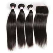 Grace Plus Hair 7A Brazilian Straight Hair 3Bundles With 1pc Free Part Closure 4×4 Lace Hair Extension