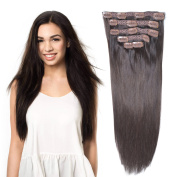 50cm Clip in Hair Extensions Real Human Hair Double Weft Thick to Ends Dark Brown(#2) 6pieces 70grams70ml
