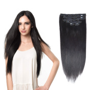 41cm Clip in Hair Extensions Real Human Hair Double Weft Thick to Ends Off Black(#1B) 6pieces 70grams70ml