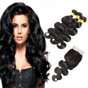 BHF HAIR Brazilian Body Wave Human Hair Bundles with 4x4 Lace Closure Human Hair Extensions 14 16 18 20+12