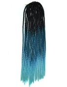 Stepupgirl 50cm Black Azure Sky Blue Ombre Colour Soft Dread Lock Crochet Synthetic Braiding Hair
