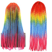 Stepupgirl 50cm Orange Yellow Blue Pink Four Ombre Colour Soft Dread Lock Crochet Synthetic Braiding Hair