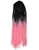 Stepupgirl 50cm Black to Light Pink Two Ombre Colour Soft Dread Lock Crochet Synthetic Braiding Hair