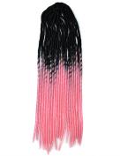 Stepupgirl 50cm Black to Light Pink Two Ombre Colour Soft Dread Lock Crochet Synthetic Braiding Hair
