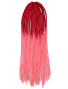 Stepupgirl 50cm Deep Pink to Light Pink Two Ombre Colour Soft Dread Lock Crochet Synthetic Braiding Hair
