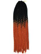 Stepupgirl 50cm Black to Orange Two Ombre Colour Soft Dread Lock Crochet Synthetic Braiding Hair
