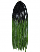 Stepupgirl 50cm Black to Grass Green Two Ombre Colour Soft Dread Lock Crochet Synthetic Braiding Hair