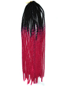 Stepupgirl 50cm Black to Rose Pink Two Ombre Colour Soft Dread Lock Crochet Synthetic Braiding Hair