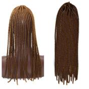 Stepupgirl 50cm Pure Light Brown Colour Soft Dread Lock Crochet Synthetic Braiding Hair