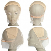 MsFenda 3pcs/lot Medium Size Beige Colour Lace Wig Making Cap, Glueless Wig Cap, Full Lace Wig Cap, Adjustable Wig Cap