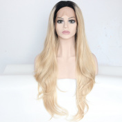 Ebingoo Blonde Lace Front Wig Wavy Hair Long Wavy Light Brown Dark Roots Heat Resistant Synthetic Fibre Wavy Full Wigs