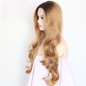 Ebingoo Brown Lace Front Wig Loose Curly Hair Long Wavy Dark Roots Heat Resistant Synthetic Fibre Wavy Full Wigs