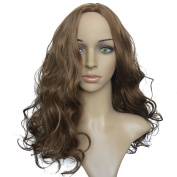 Namecute Brown Wigs Big Wavy Long Synthetic Wig Middle Part + Free Wig Cap
