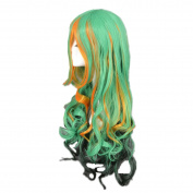 DAYISS Women's Long Curly Wavy Full Wig Glamour Cosplay Heat Resistant Green