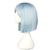 DAYISS Women's Blue Straight Bob Curly Full Wig Glamour Cosplay Heat Resistant