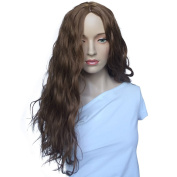 Namecute Long Curly Wigs Brown Spiral Full Synthetic Wig Middle Part + Free Wig Cap