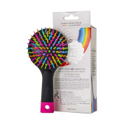 ISEYMI Detangling Brush with Mirror, Anti Static Soft Bristle, Rainbow Volume S Brush, Rainbow Comb, For All Hair Types,Purple