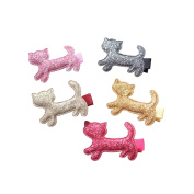 5pcs Bling Bling Cat Hair Clip Baby Girls Ribbon Hair Clip Alligator Hair Clip Baby Toddler Hair Bow Clip Set