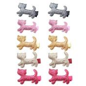 10pcs Bling Bling Cat Hair Clip Baby Girls Ribbon Hair Clip Alligator Hair Clip Baby Toddler Hair Bow Clip Set